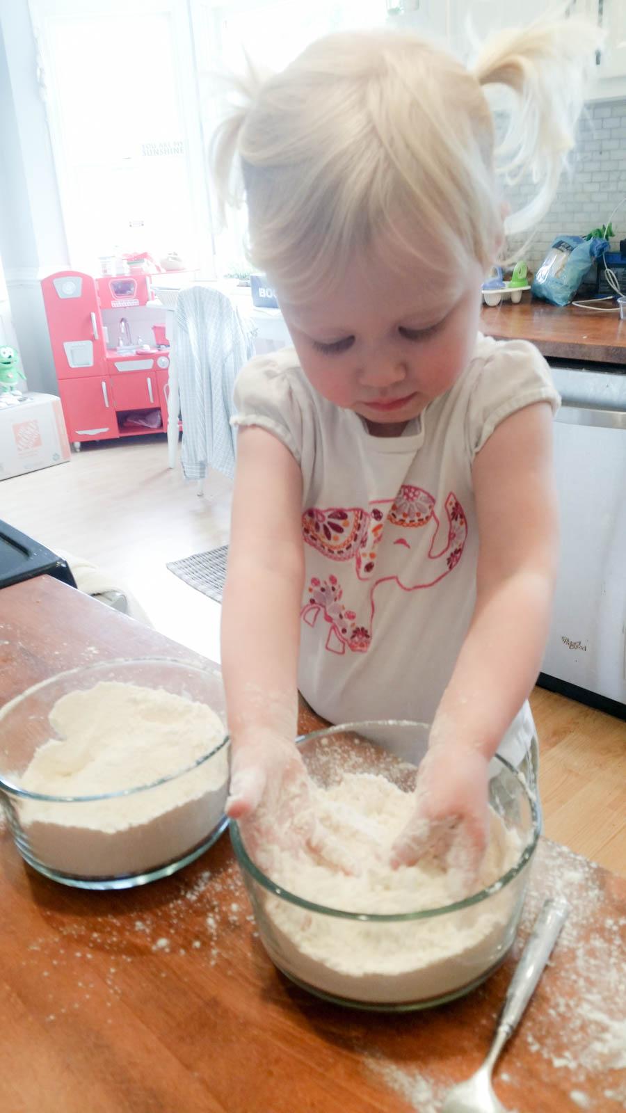 Making homemade playdough
