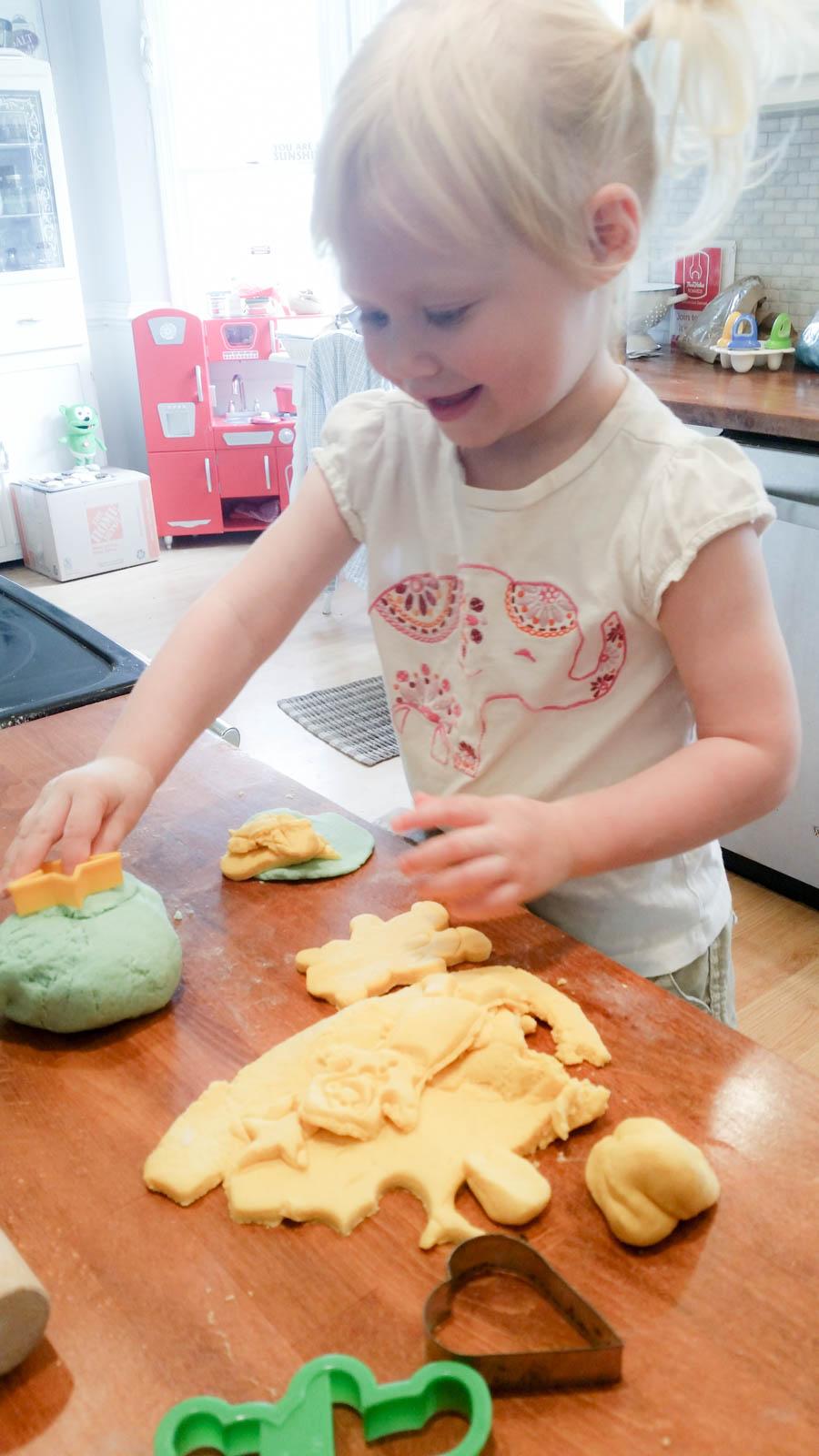 Homemade playdough for a toddler